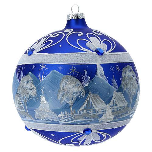 Pallina Natale montagne innevate blu vetro soffiato 150 mm 5