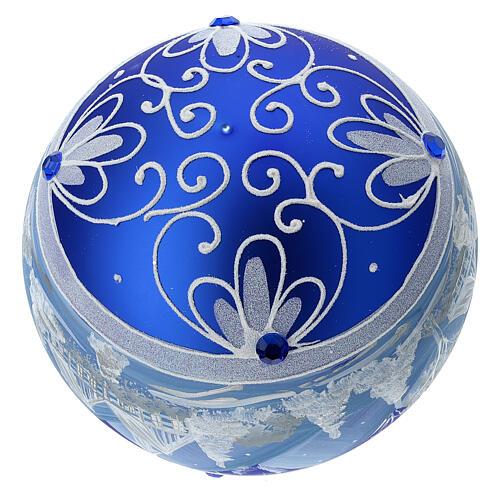 Pallina Natale montagne innevate blu vetro soffiato 150 mm 6