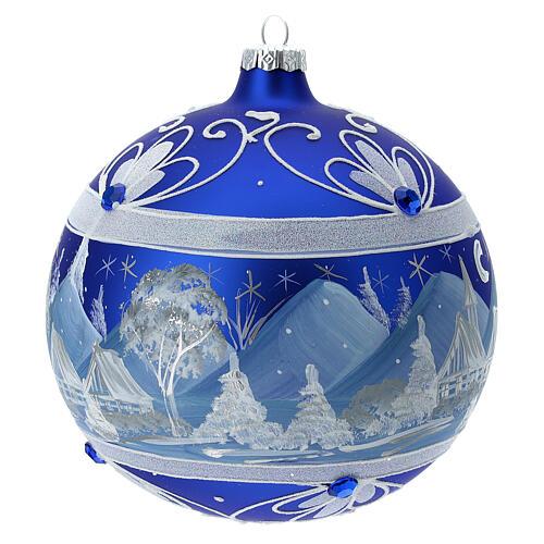 Glass Christmas ball blue snowy mountain landscape 150 mm 3