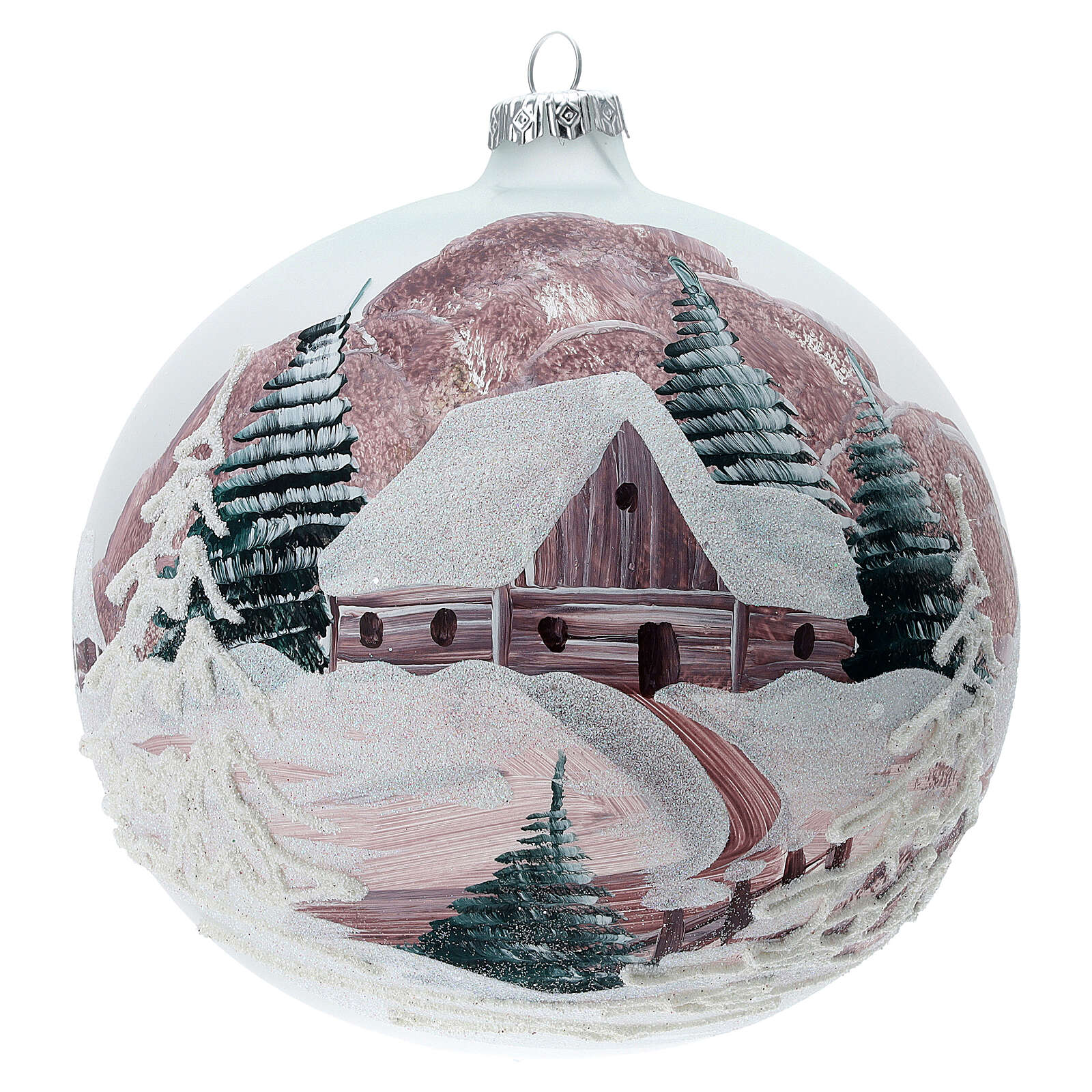 Christmas ball winter house painted 15 cm blown glass 4