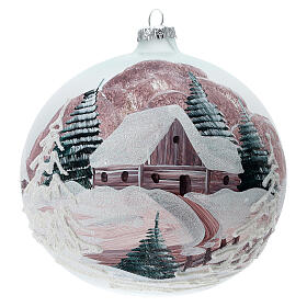 Christmas ball winter house painted 15 cm blown glass s1