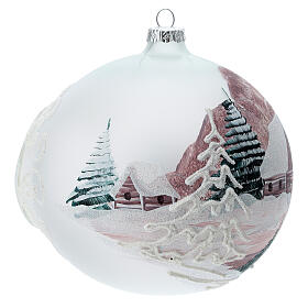 Christmas ball winter house painted 15 cm blown glass s6