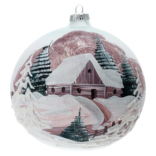 Christmas ball winter house painted 15 cm blown glass 1
