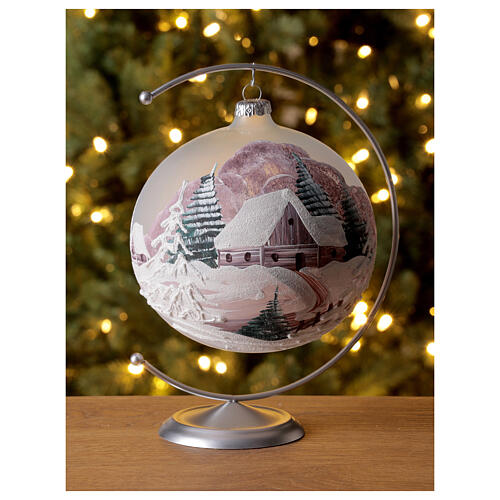 Christmas ball winter house painted 15 cm blown glass 2