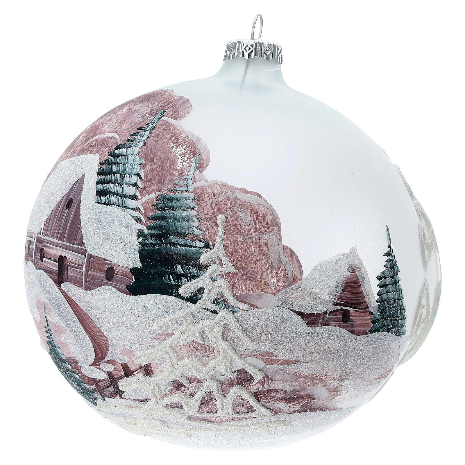 Boule Noël chalet enneigé sapins verre soufflé 150 mm 4