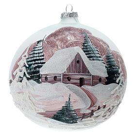 Boule Noël chalet enneigé sapins verre soufflé 150 mm s1