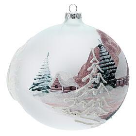 Boule Noël chalet enneigé sapins verre soufflé 150 mm s3