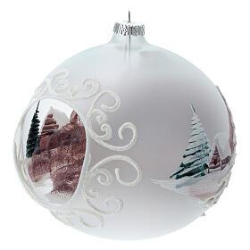 Boule Noël chalet enneigé sapins verre soufflé 150 mm s4