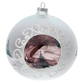 Boule Noël chalet enneigé sapins verre soufflé 150 mm s5