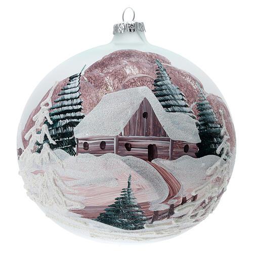 Boule Noël chalet enneigé sapins verre soufflé 150 mm 1