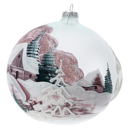 Boule Noël chalet enneigé sapins verre soufflé 150 mm 2