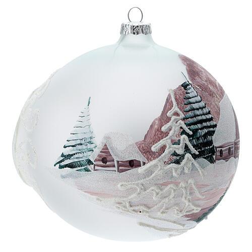 Boule Noël chalet enneigé sapins verre soufflé 150 mm 3