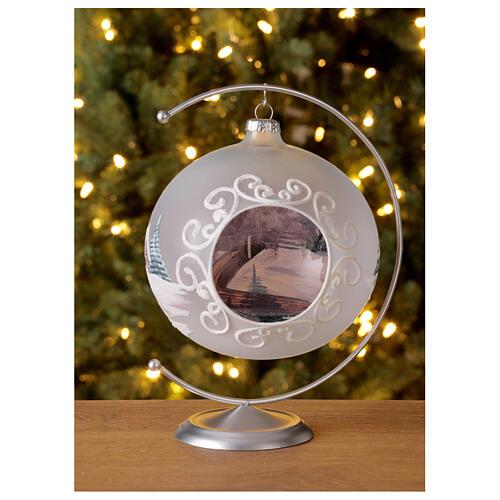 Pallina Natale baita innevata albero vetro soffiato 150 mm 4