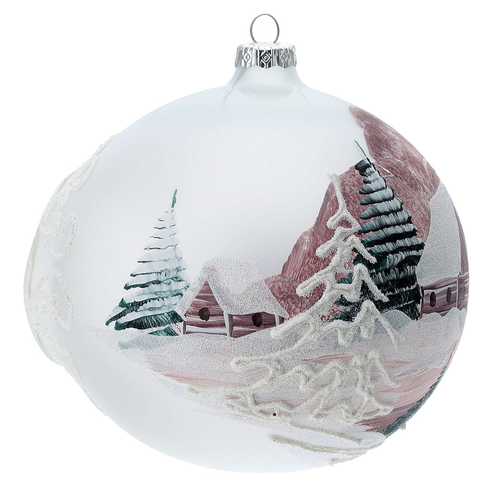 Glass Christmas ball winter house 150 mm 4