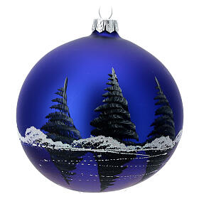 Glass Christmas ball ornament winter night full moon 100 mm s5