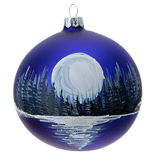 Glass Christmas ball ornament winter night full moon 100 mm 1