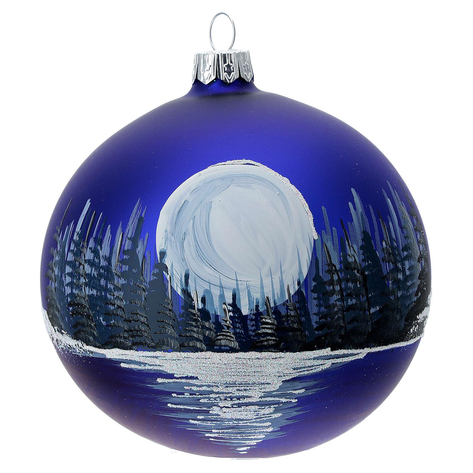 Boule Noël pleine lune sur lac verre soufflé 100 mm 4
