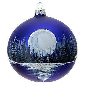 Boule Noël pleine lune sur lac verre soufflé 100 mm s1