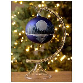 Boule Noël pleine lune sur lac verre soufflé 100 mm s2