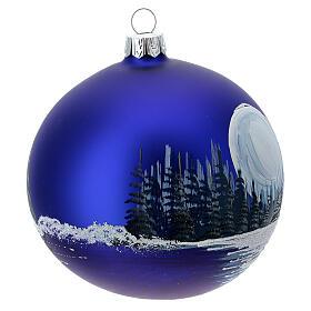 Boule Noël pleine lune sur lac verre soufflé 100 mm s4