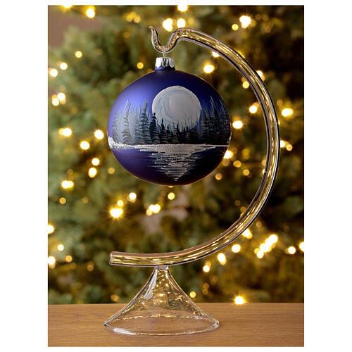Boule Noël pleine lune sur lac verre soufflé 100 mm 2