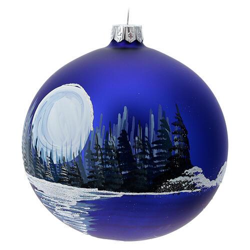 Boule Noël pleine lune sur lac verre soufflé 100 mm 3