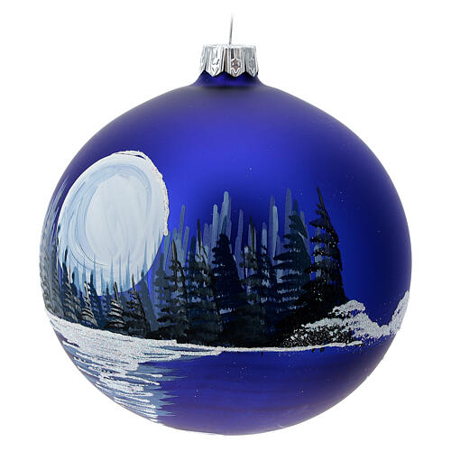 Glass Christmas ball ornament winter night full moon 100 mm 3
