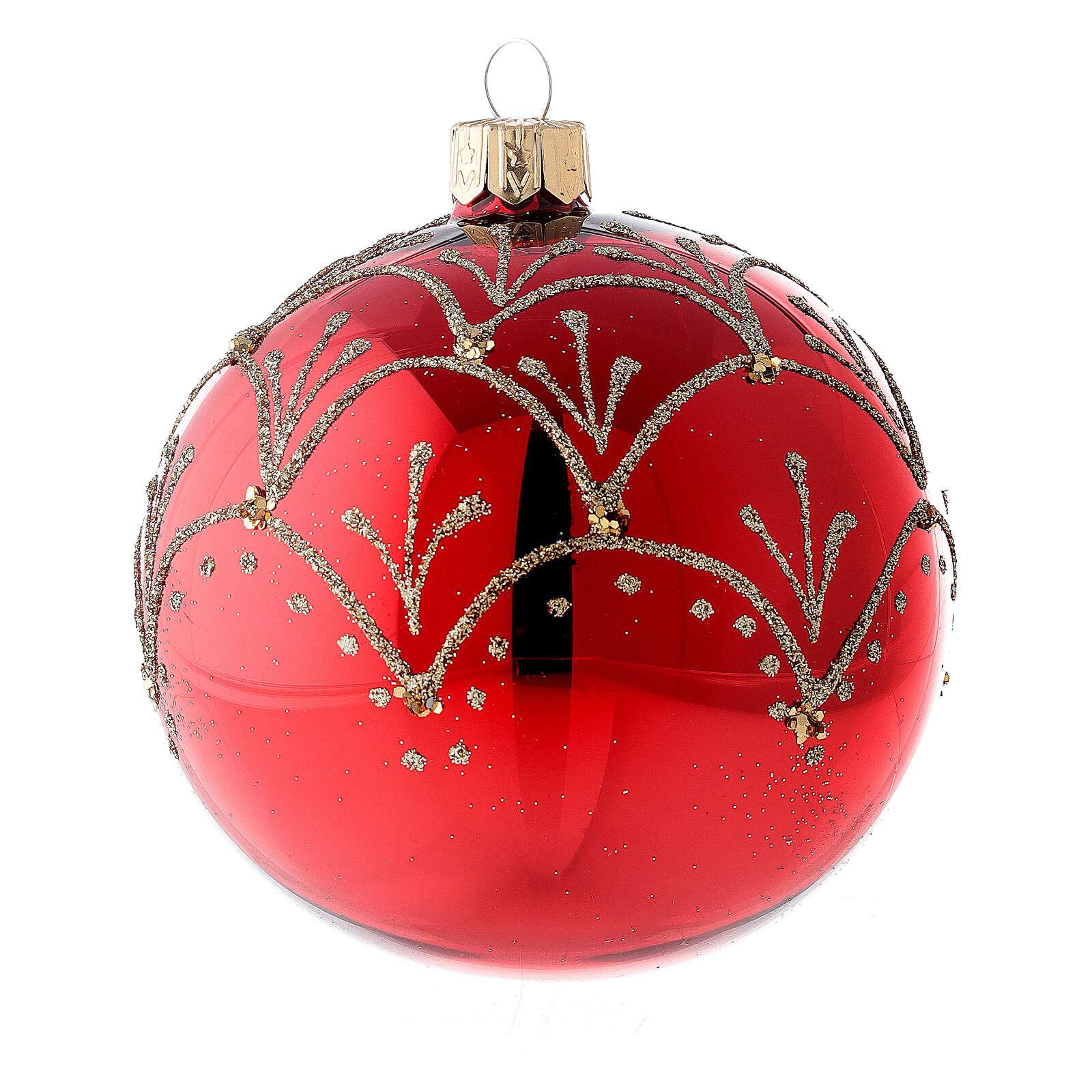 Ornement rouge décorations or verre soufflé sapin Noël 80 mm 6 pcs 4