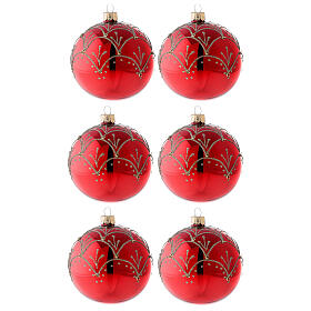 Ornement rouge décorations or verre soufflé sapin Noël 80 mm 6 pcs s1