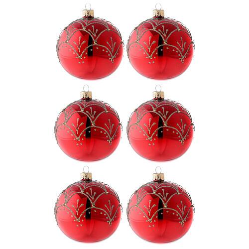 Ornement rouge décorations or verre soufflé sapin Noël 80 mm 6 pcs 1