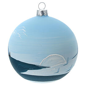 Glass Christmas ball snowy lonely fir trees 100 mm s5