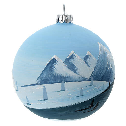 Glass Christmas ball snowy lonely fir trees 100 mm 4