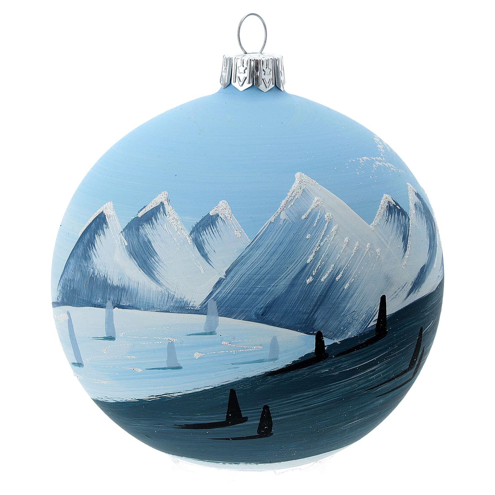 Bola árvore de Natal árvores e montanhas nevadas vidro soprado 100 mm 4