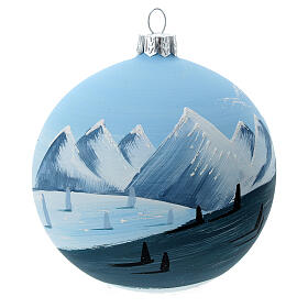 Bola árvore de Natal árvores e montanhas nevadas vidro soprado 100 mm s1
