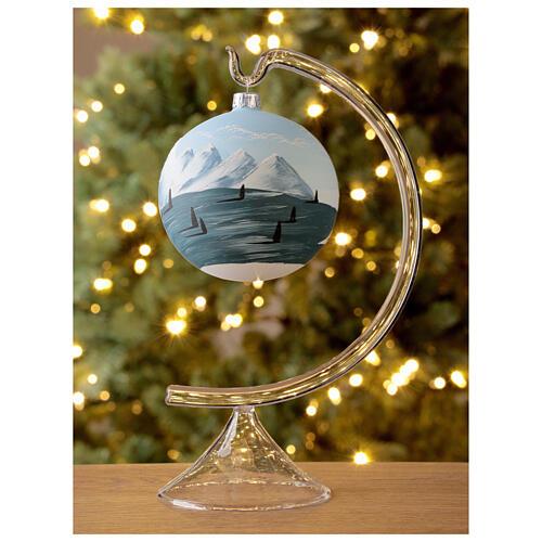 Bola árvore de Natal árvores e montanhas nevadas vidro soprado 100 mm 2