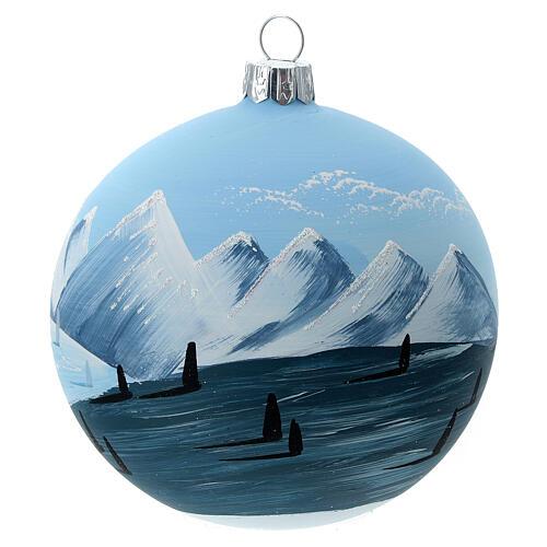 Bola árvore de Natal árvores e montanhas nevadas vidro soprado 100 mm 3