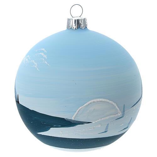 Bola árvore de Natal árvores e montanhas nevadas vidro soprado 100 mm 5