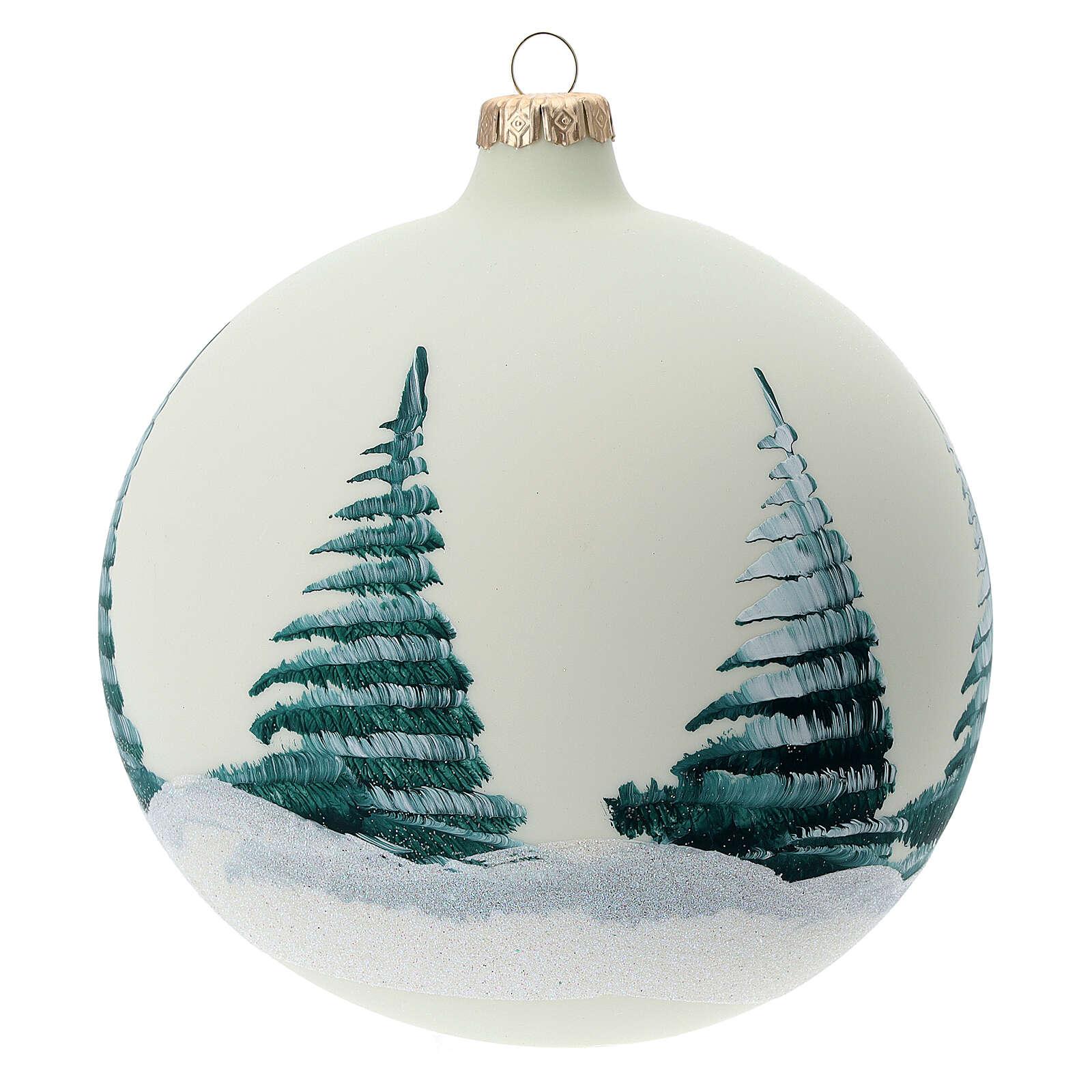 Boule pour sapin Père Noël rennes découpage verre soufflé 150 mm 4