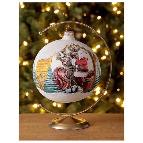 Boule pour sapin Père Noël rennes découpage verre soufflé 150 mm 2