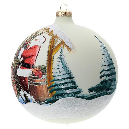 Boule pour sapin Père Noël rennes découpage verre soufflé 150 mm 3