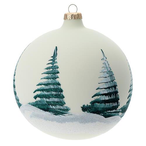 Boule pour sapin Père Noël rennes découpage verre soufflé 150 mm 5