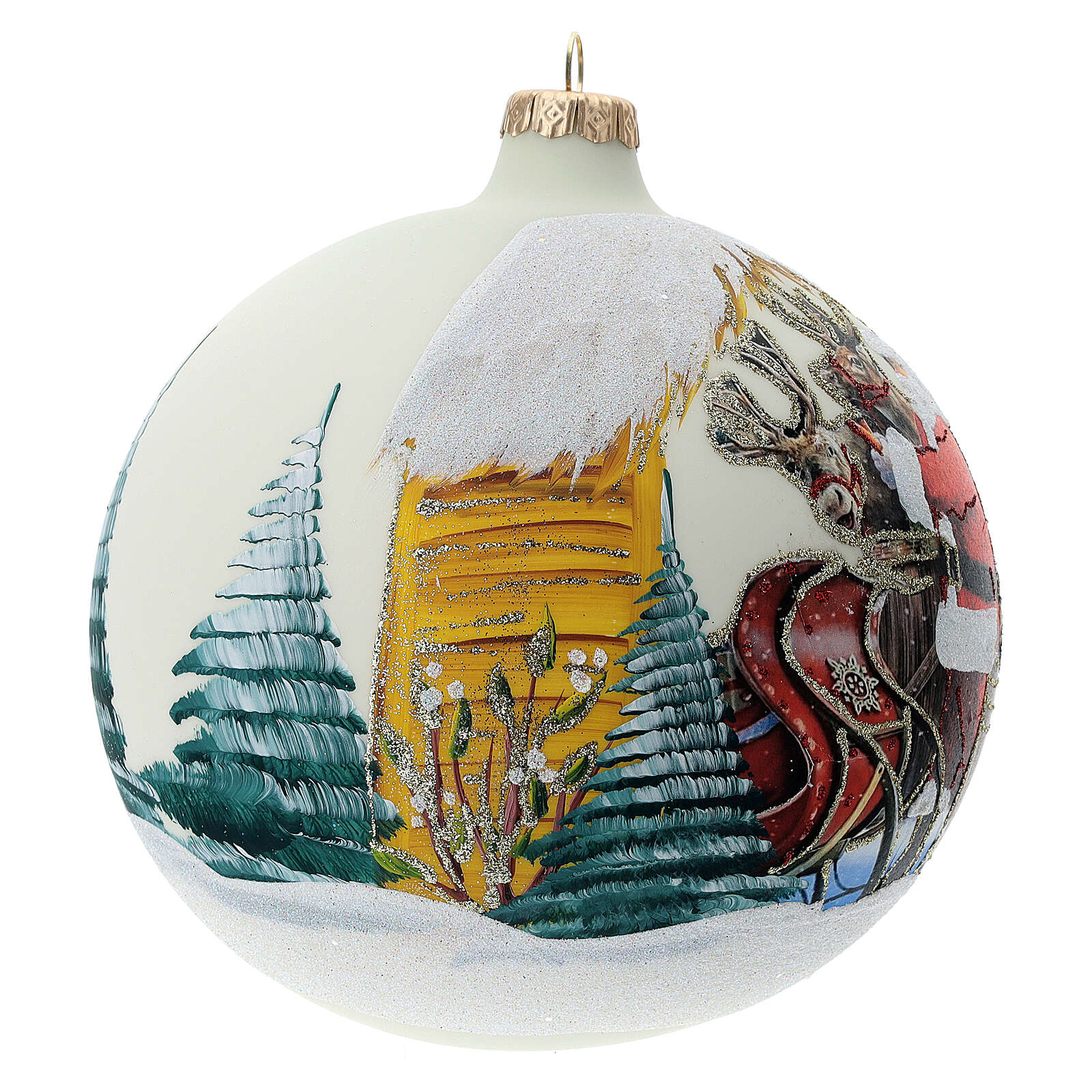 Bola árvore de Natal Pai Natal e renas decoupagem vidro soprado 150 mm 4