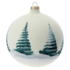 Bola árvore de Natal Pai Natal e renas decoupagem vidro soprado 150 mm s4