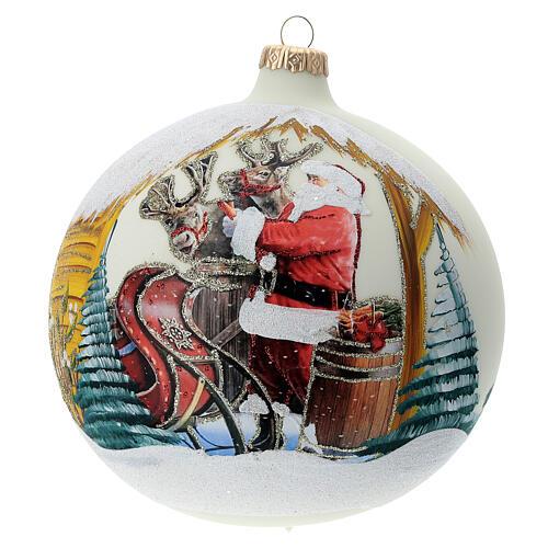 Bola árvore de Natal Pai Natal e renas decoupagem vidro soprado 150 mm 1