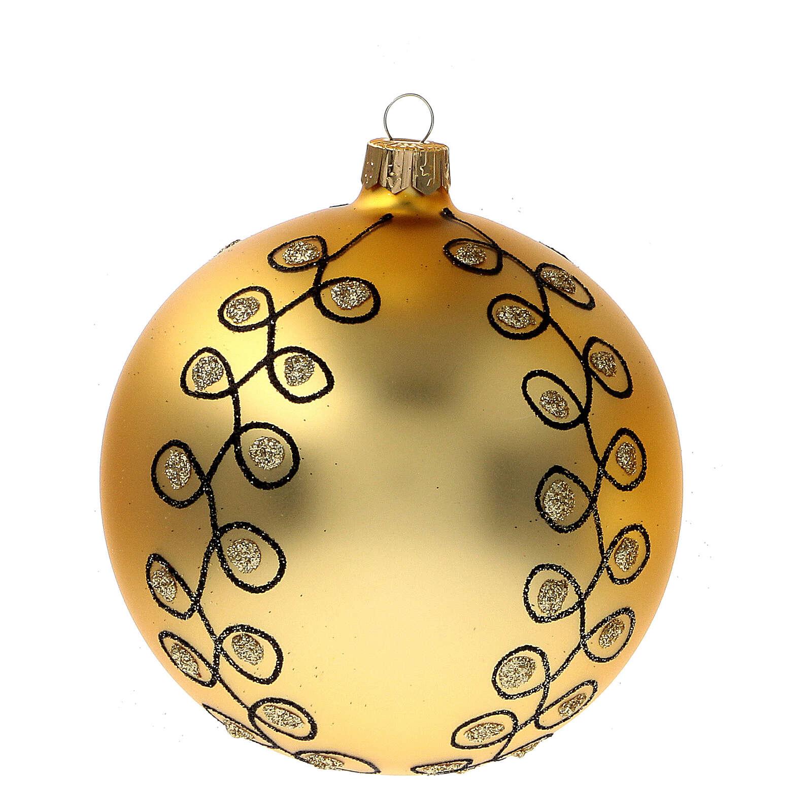 Pallina Natale dorata arabeschi neri glitter vetro soffiato 100 mm 4 pz 4