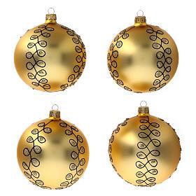 Pallina Natale dorata arabeschi neri glitter vetro soffiato 100 mm 4 pz s1