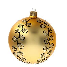 Pallina Natale dorata arabeschi neri glitter vetro soffiato 100 mm 4 pz s2