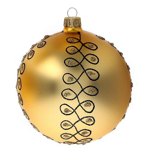 Pallina Natale dorata arabeschi neri glitter vetro soffiato 100 mm 4 pz 3
