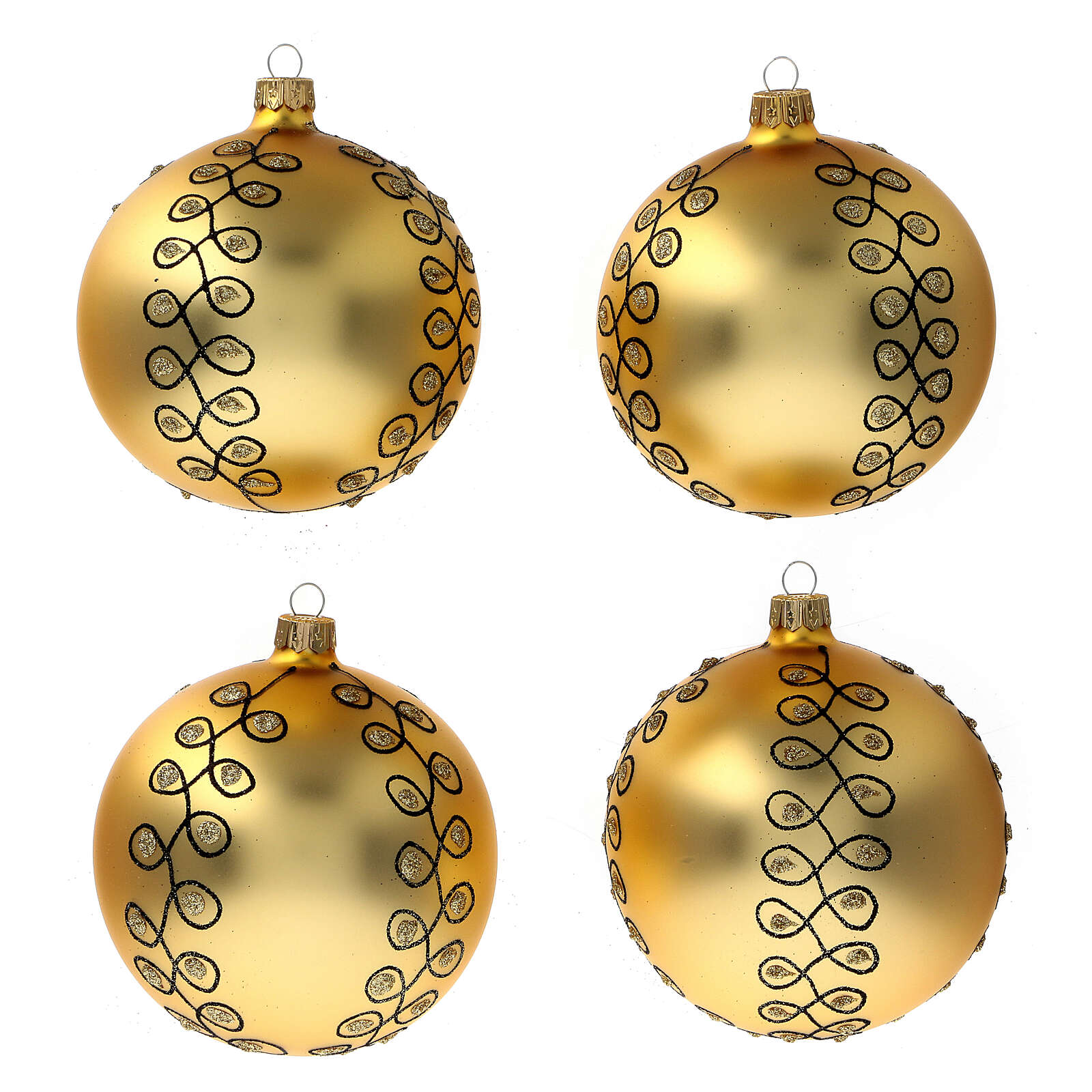 Glass Christmas ball with gold Arabesques black glitter 100 mm 4 pcs 4