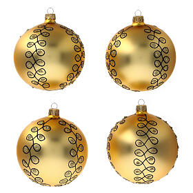 Glass Christmas ball with gold Arabesques black glitter 100 mm 4 pcs s1